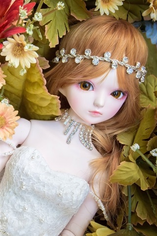 iPhone Wallpaper Toy girl, doll, flowers
