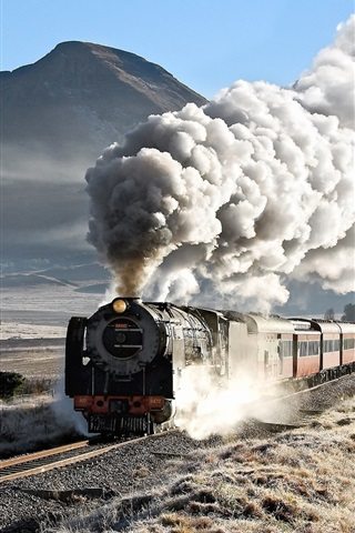 iPhone Wallpaper Train, railway, smoky, mountains
