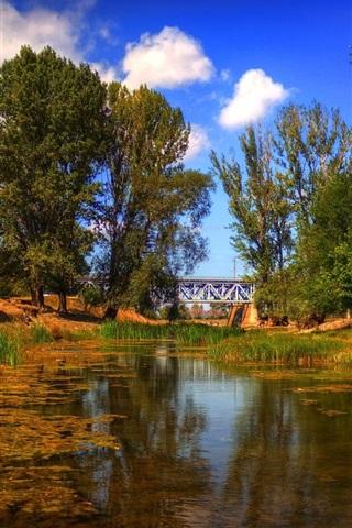 iPhone Wallpaper Trees, river, sky, clouds, bridge
