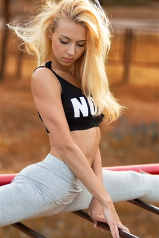 iPhone Wallpaper Yana Kuzmina, sport girl, legs