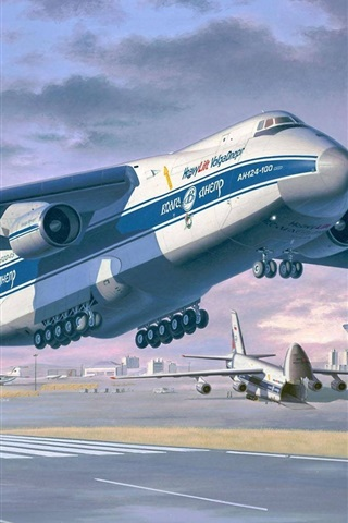 iPhone Wallpaper Antonov An-124-100 Ruslan, heavy long-range transport aircraft, art drawing