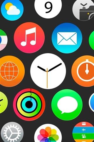iPhone Papéis de Parede Relógio Apple, o menu iWatch, iOS ícones
