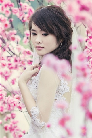 iPhone Wallpaper Asian girl, garden, spring, pink flowers