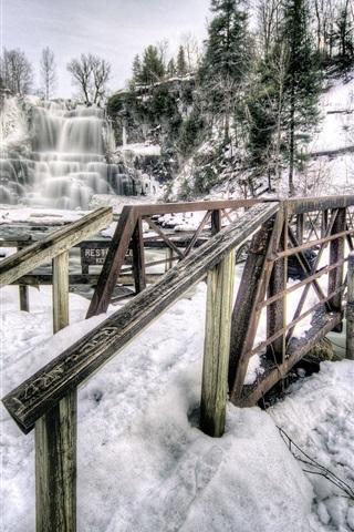iPhone Wallpaper Chittenango Falls State Park, New York, USA, waterfall, winter, snow, bridge