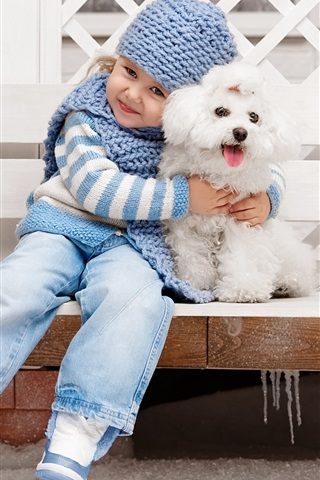 iPhone Wallpaper Cute girl with dog, friends