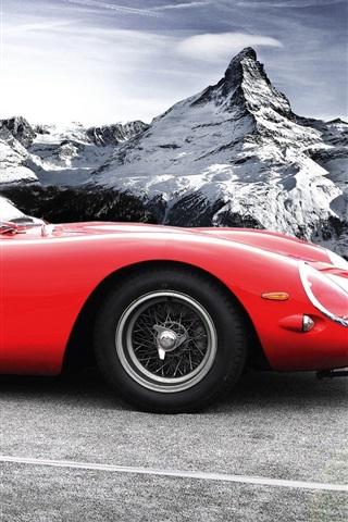 Ferrari 250 Gto Classic Red Car Mountains Snow 640x1136 Iphone 5