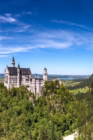 iPhone Wallpaper Germany, Bavaria, Neuschwanstein castle, mountains, trees, blue sky