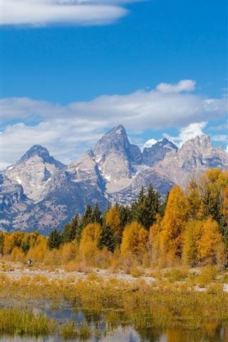 iPhone Wallpaper Grand Teton National Park, Wyoming, USA, mountains, river, trees, autumn