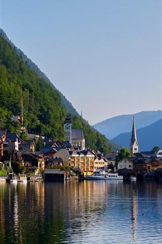 iPhone Wallpaper Hallstatt, Alps, lake, mountain, houses