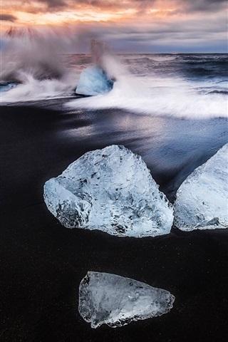 iPhone Wallpaper Iceland, ice, beach, sea waves splash, dawn