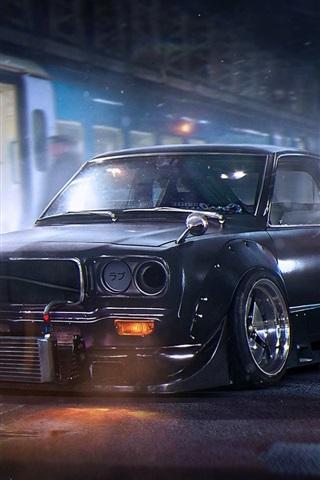 iPhone Wallpaper Mazda RX-3 black car, night, city