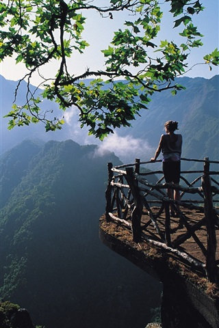iPhone Wallpaper Morning landscape, nature, girl, mountains, trees, fences