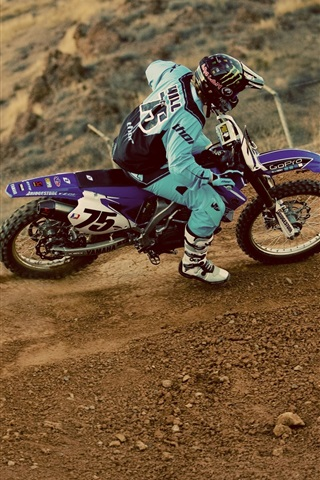 iPhone Wallpaper Motocross, pilot, dust, extreme sports