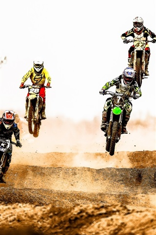 iPhone Wallpaper Motocross race, jump, dust, desert