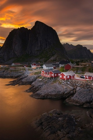 iPhone Wallpaper Norway, sky, clouds, sunset, sea, mountain, village, house