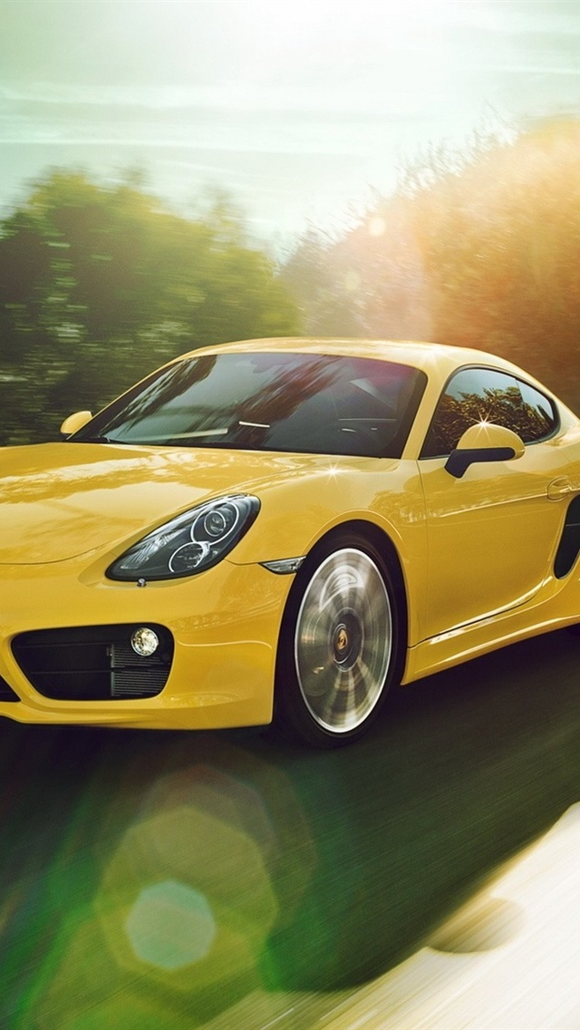 Porsche Cayman Yellow Car Speed 640x1136 Iphone 5 5s 5c Se Wallpaper Background Picture Image
