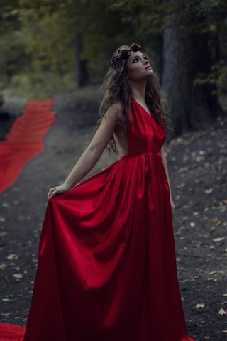 iPhone Wallpaper Red dress girl in the forest, bird, dusk