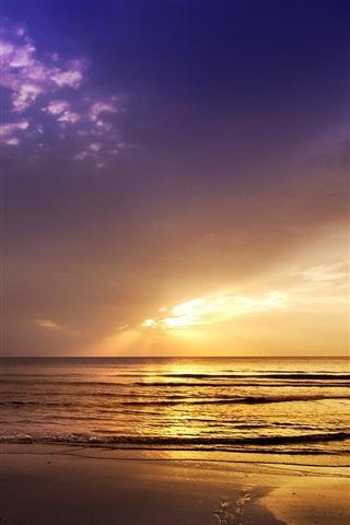 iPhone Wallpaper Sunset, sea, boat, nature landscape