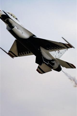 iPhone Wallpaper Thunderbird aircraft, sky, smoke