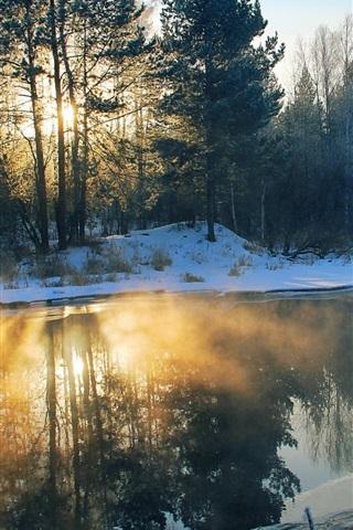 iPhone Wallpaper Winter, morning, river, snow, trees, sun rays