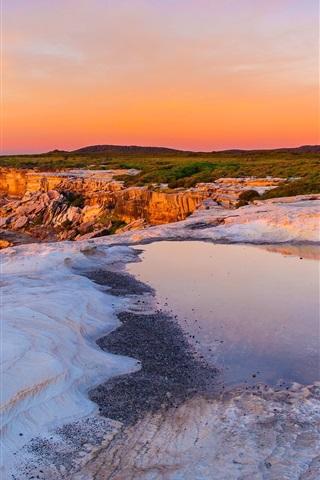 iPhone Wallpaper Australia, sunset, sea, rocks, coast, red sky
