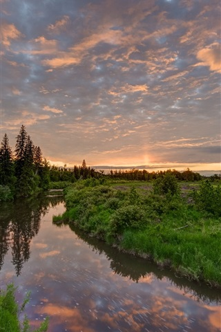 iPhone Wallpaper Beautiful nature scenery, river, grass, trees, sunset, clouds