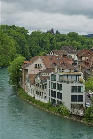 iPhone Wallpaper Bern, Switzerland, river, house, trees, cloudy sky