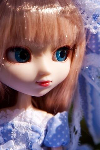 iPhone Wallpaper Blue skirt toys little girl