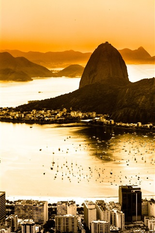 iPhone Wallpaper Brazil, Rio de Janeiro, city top view, coast, dawn, fog