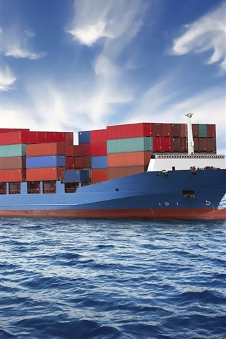 iPhone Wallpaper Container ship, sea, clouds