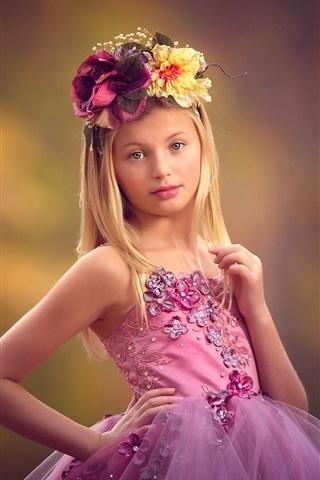 iPhone Papéis de Parede Menina bonito, grinalda, vestido roxo