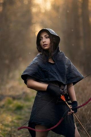 iPhone Wallpaper Girl, hunter, bow, arrows