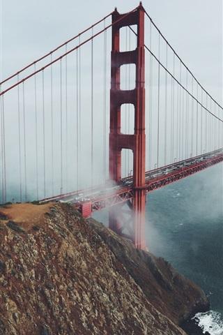 iPhone Wallpaper Golden Gate Bridge, San Francisco, USA, morning, fog