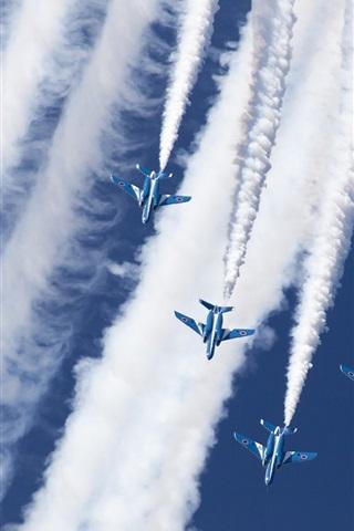 iPhone Wallpaper Kawasaki T-4, Blue Impulse, aerobatic group, sky, smoke