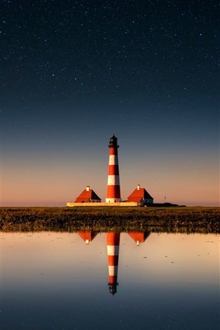 iPhone Wallpaper Lighthouse, sky, stars, sea, water reflection