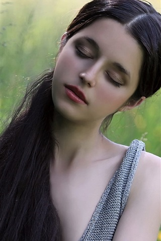 iPhone Wallpaper Long hair girl, dream, close eyes, nature