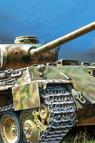 iPhone Wallpaper Panther, German, tank, art drawing
