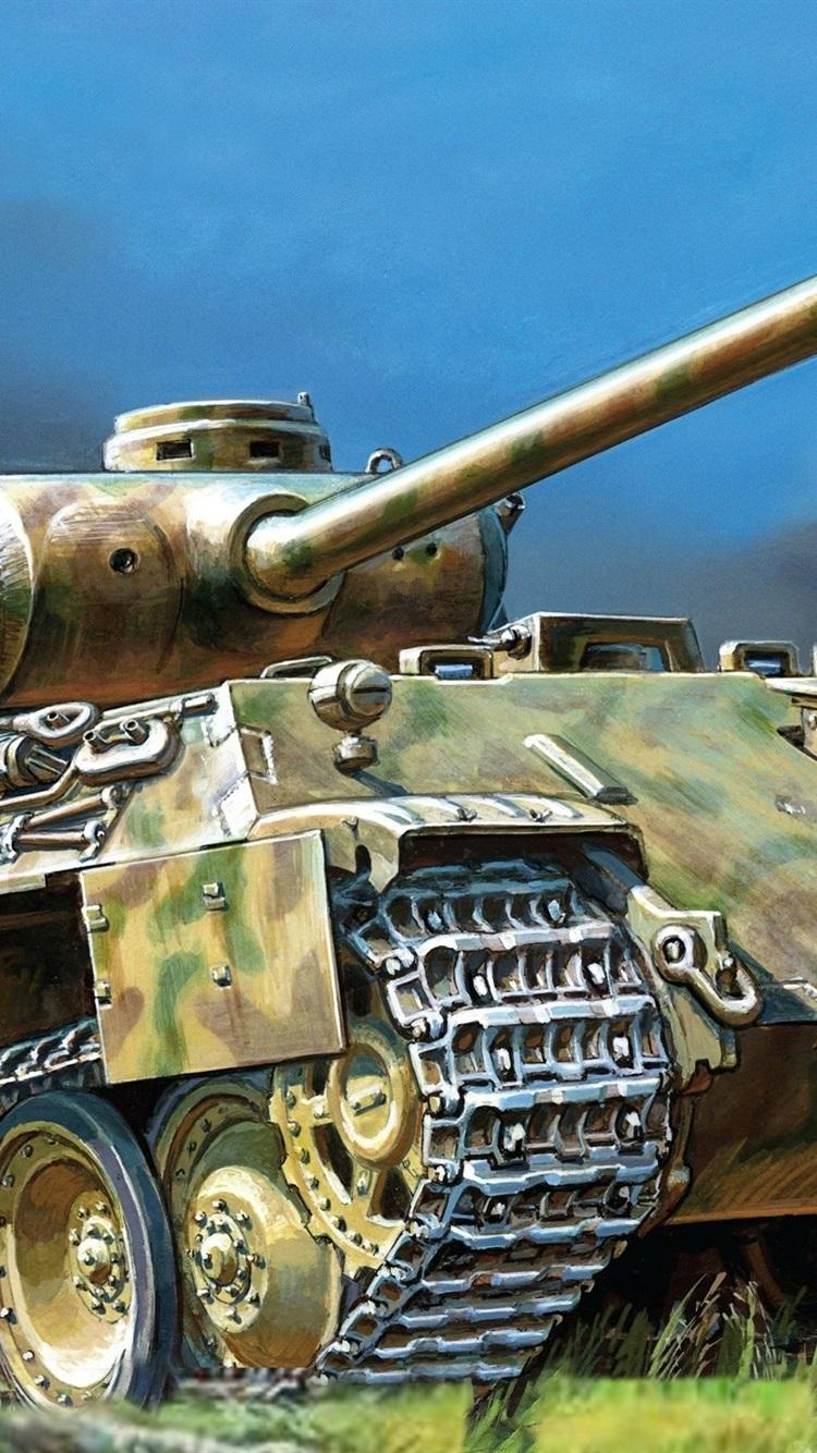 Panther German Tank Art Drawing 750x1334 Iphone 8 7 6 6s