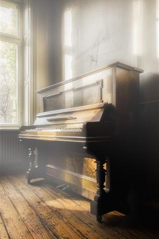 iPhone Wallpaper Piano, music, room, sun rays