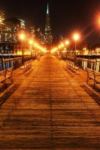 iPhone Wallpaper San Francisco, California, USA, beautiful night, bridge, lights