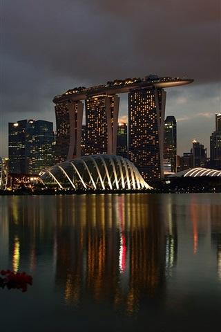 iPhone Wallpaper Singapore, Marina Bay Sands, night, lights, buildings, casino