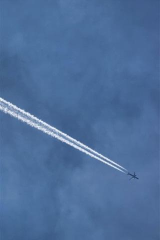 iPhone Wallpaper Sky, aircraft, smoke
