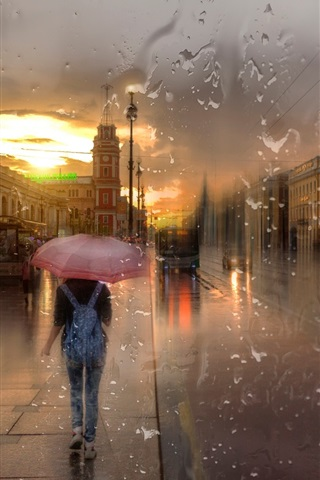 iPhone Wallpaper St. Petersburg, Nevsky prospect, rain, girl, night, lights, creative design