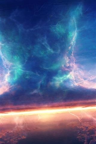 iPhone Wallpaper Storm, sky, clouds, spaceship, tornado, art design