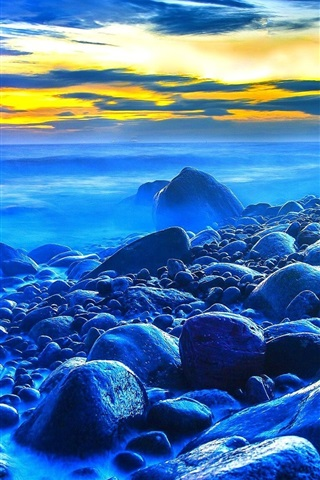 iPhone Wallpaper Sunset, sea, stones, dusk, blue style