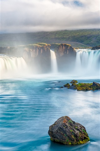iPhone Wallpaper Waterfalls, river, beautiful landscape, river, stones, clouds