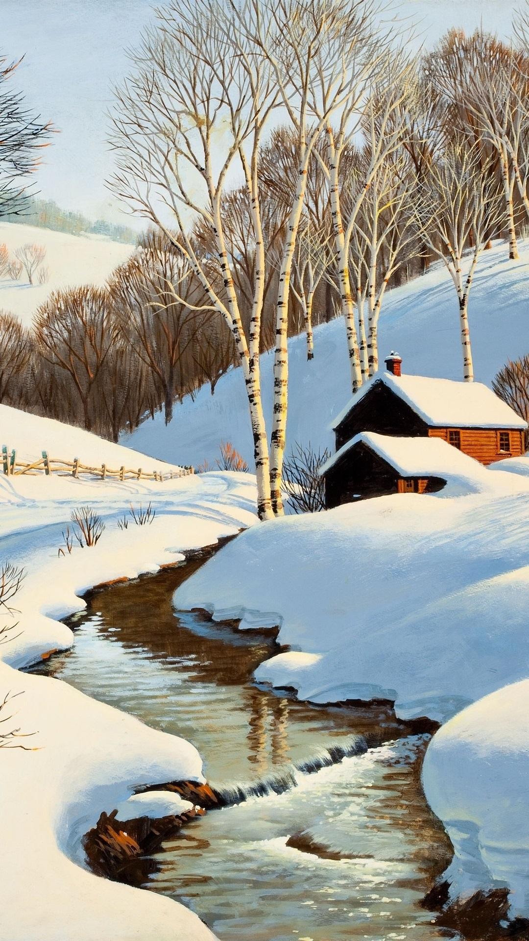 Fonds Décran La Peinture De Paysages Dhiver Ruisseau Maison