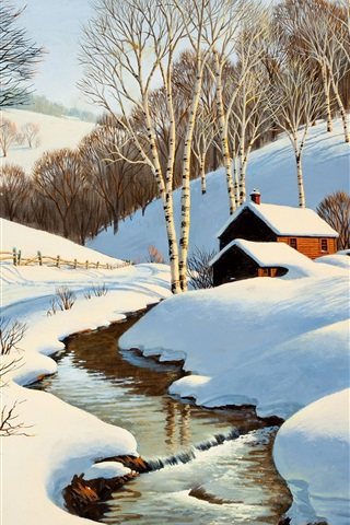 iPhone Wallpaper Winter scenery painting, stream, house, road, trees, snow