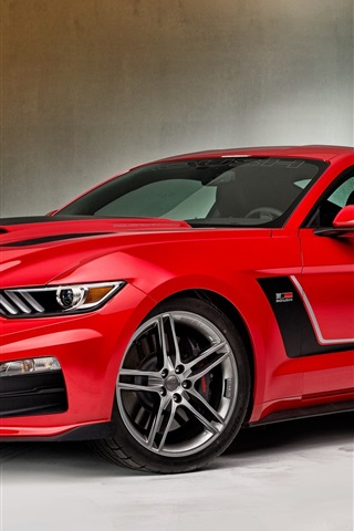 iPhone Wallpaper 2015 Ford Mustang red supercar side view