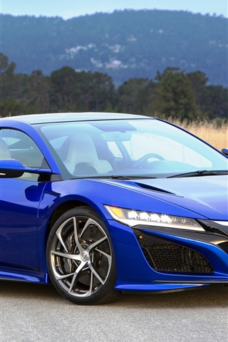 iPhone Wallpaper 2016 Acura NSX blue luxury supercar